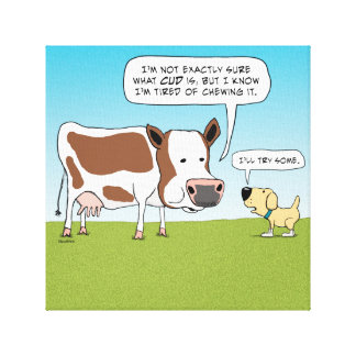 Funny Cow and Dog Wrapped Canvas Print