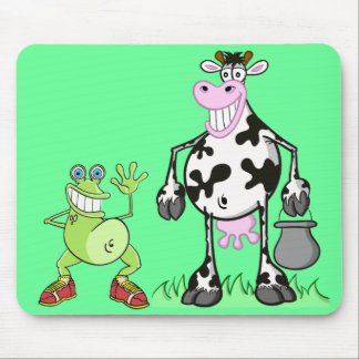 """""""funny cow and frog"""" mousepad"""