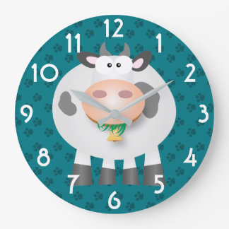 Funny Cow And Grey Paw Print Pattern Wall Clock