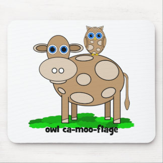 funny cow and owl mouse pad