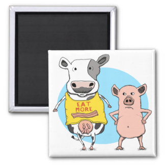 Funny Cow and Pig Awkward Fridge Magnet