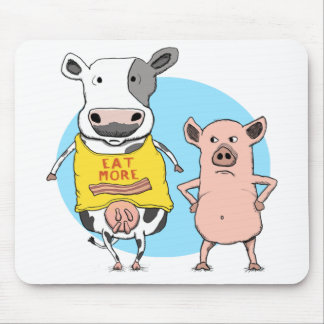 Funny Cow and Pig Awkward Moment Mousepad