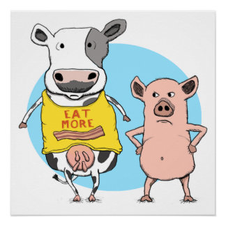 Funny Cow and Pig Awkward Moment Poster