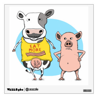 Funny Cow and Pig Awkward Moment Wall Decal