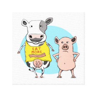 Funny Cow and Pig Wrapped Canvas Print