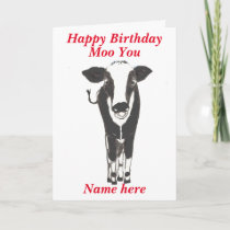 Funny Cow Birthday Card, add name, change any text Card
