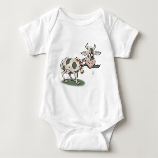 funny cow biting tail baby bodysuit