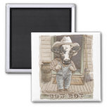 Funny Cow Boy by Mudge Studios 2 Inch Square Magnet