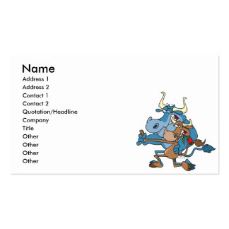 funny cow bull tango cartoon business card
