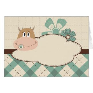 Funny cow cartoon character card