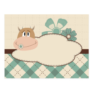 Funny cow cartoon character postcard