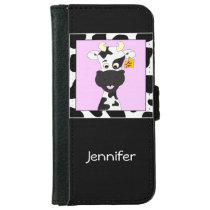 Funny cow cartoon girls wallet phone case for iPhone 6/6s