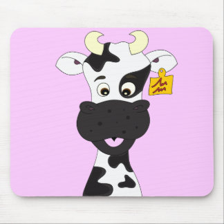 Funny cow cartoon girls mouse pad