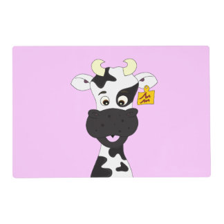 Funny cow cartoon girls placemat