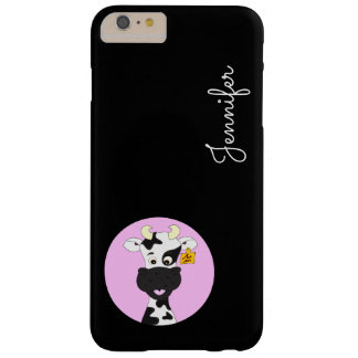 Funny cow cartoon pink black custom kids barely there iPhone 6 plus case