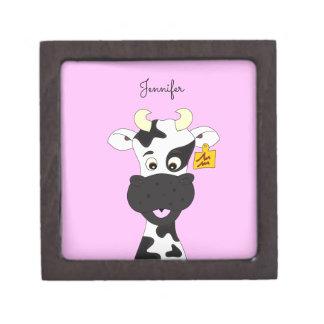 Funny cow cartoon pink custom gift box