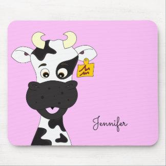 Funny cow cartoon pink custom girls mousepad