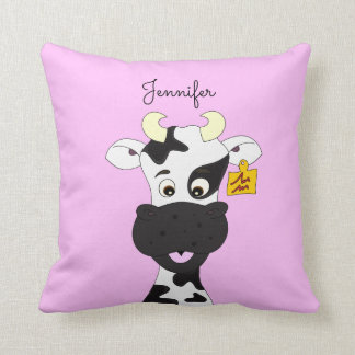 Funny cow cartoon pink custom nursery pillow