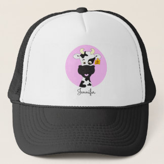 Funny cow cartoon pink name hat