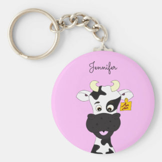 Funny cow cartoon pink name keychain