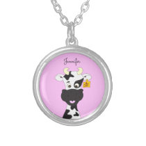 Funny cow cartoon pink name necklace