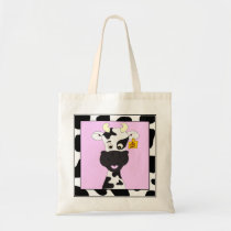 Funny cow cartoon tote bag