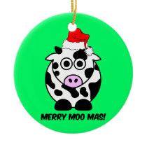 funny cow Christmas Ceramic Ornament