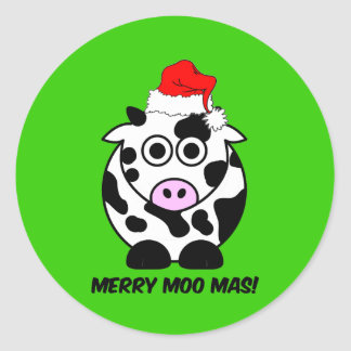Funny cow Christmas Classic Round Sticker