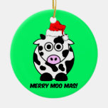 funny cow Christmas Double-Sided Ceramic Round Christmas Ornament