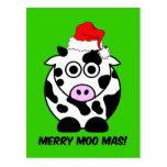 Funny cow Christmas Postcard