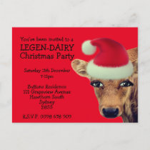 Funny Cow Customisable Christmas Invitations