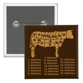 Funny Cow Diagram 2 Inch Square Button
