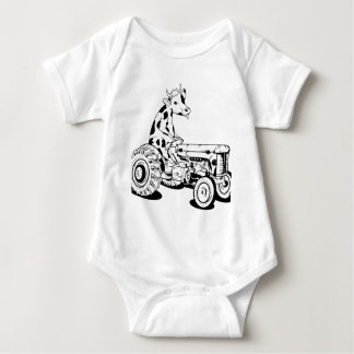 Funny cow driving a tractor baby bodysuit
