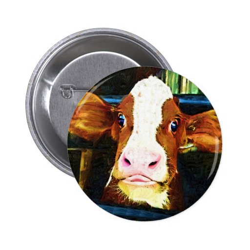 Funny Cow Face 2 Inch Round Button