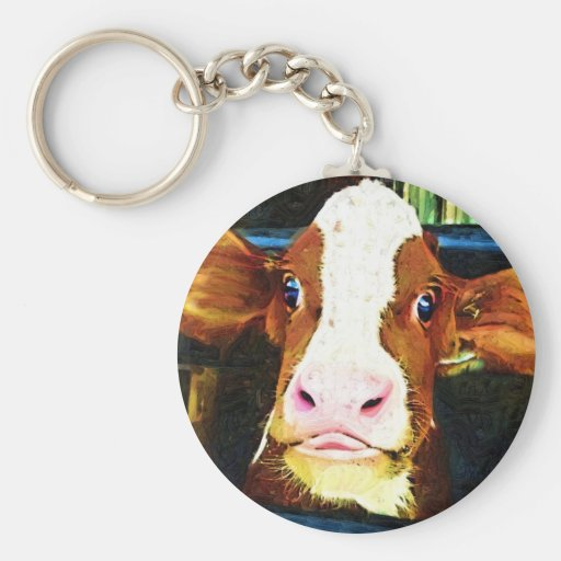Funny Cow Face Basic Round Button Keychain