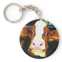 Funny Cow Face Keychain