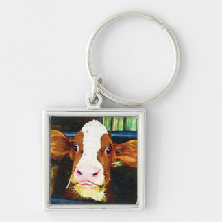 Funny Cow Face Key Chains