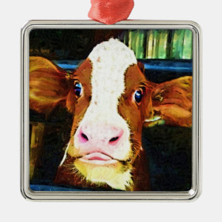 Funny Cow Face Christmas Ornaments