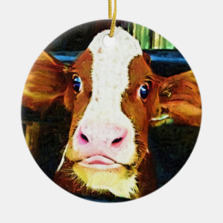 Funny Cow Face Christmas Ornament
