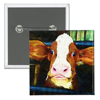 Funny Cow Face Pinback Button
