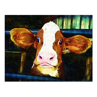 Funny Cow Face Postcards