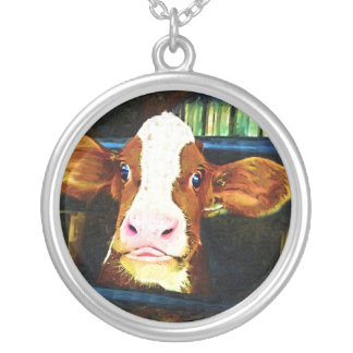 Funny Cow Face Silver Plated Necklace