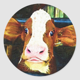 Funny Cow Face Round Sticker
