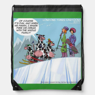Funny Cow Family Ski Trip Lace Up Backpack