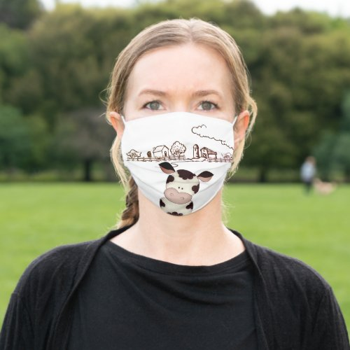 Funny Cow Farm Life Humorous Cloth Face Mask