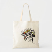 Funny cow head with flowers tote bag