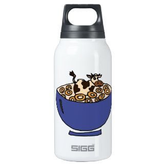 Funny Cow in Bowl of Toasted Oats Insulated Water Bottle