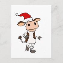 Funny Cow in Santa Hat Christmas Cartoon Postcard