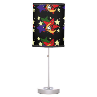 Funny Cow Jumping Over Moon and Stars Art Abstract Desk Lamp