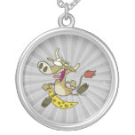 funny cow jumping over moon cartoon pendant